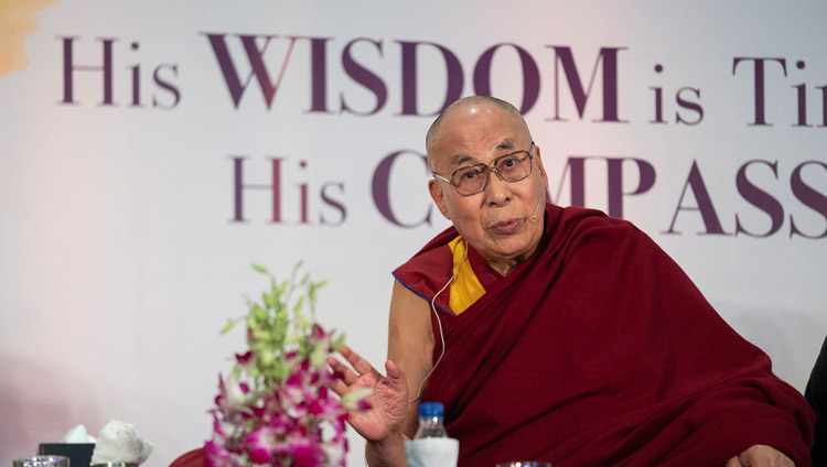 His Holiness the Dalai Lama addressing the gathering of 100 business leaders at the Maurya Sheraton Convention Hall in New Delhi, India on December 10, 2018. Photo by Tenzin Choejor