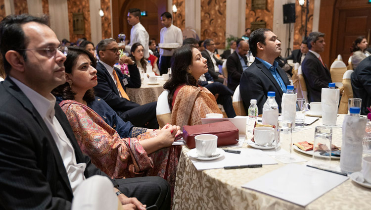 Some of the more than 100 business leaders listening to His Holiness the Dalai Lama answer questions from the audience during his address to the India Leadership Council in New Delhi, India on December 10, 2018. Photo by Tenzin Choejor