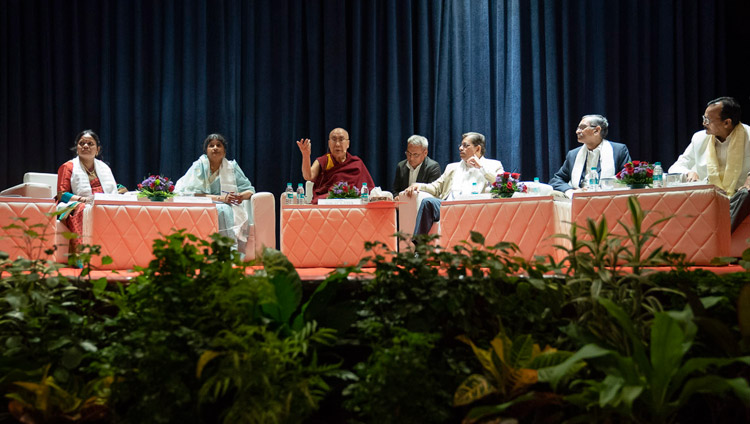 His Holiness the Dalai Lama delivering the Inaugural Address at the Conference on the Concept of 'Maitri' or 'Metta' in Buddhism at the University of Mumbai in Mumbai, India on December 12, 2018. Photo by Lobsang Tsering