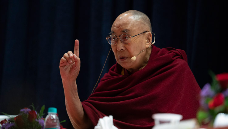 His Holiness the Dalai Lama speaking at the inaugural session of the Conference on the Concept of 'Maitri' or 'Metta' in Buddhism at the University of Mumbai in Mumbai, India on December 12, 2018. Photo by Lobsang Tsering