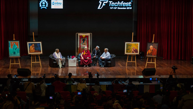 His Holiness the Dalai Lama speaking at the Indian Institute of Technology Bombay in Mumbai, India on December 14, 2018. Photo by Lobsang Tsering