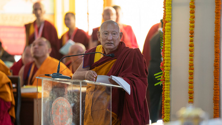Kirti Rinpoché opening the Conference on Tsongkhapa's 'Essence of True Eloquence' in Bodhgaya, Bihar, India on December 19, 2018. Photo by Lobsang Tsering
