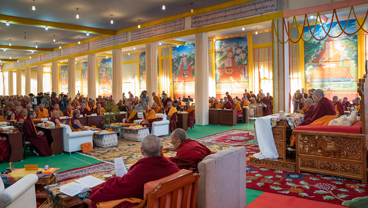 His Holiness the Dalai Lama addressing the Conference on Tsongkhapa's 'Essence of True Eloquence' in Bodhgaya, Bihar, India on December 19, 2018. Photo by Lobsang Tsering