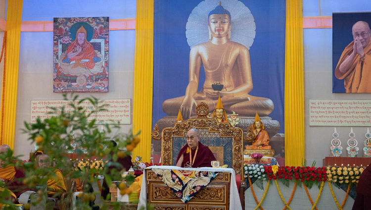 His Holiness the Dalai Lama speaking at the Conference on Tsongkhapa's 'Essence of True Eloquence' in Bodhgaya, Bihar, India on December 19, 2018. Photo by Lobsang Tsering