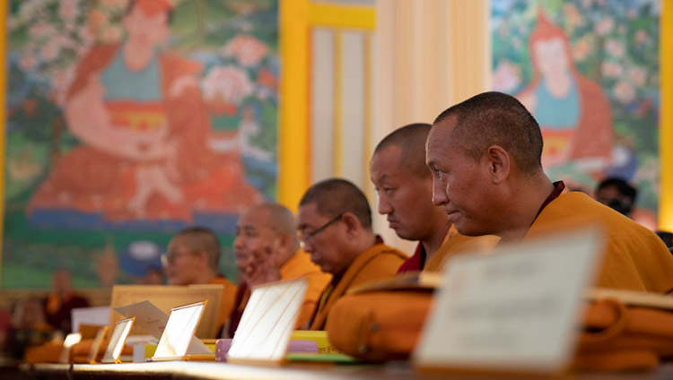 Participating scholars listening to His Holiness the Dalai Lama speaking at the First Conference on Tsongkhapa's 'Essence of True Eloquence' in Bodhgaya, Bihar, India on December 19, 2018. Photo by Lobsang Tsering