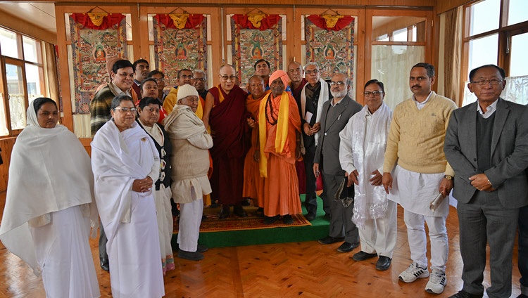 His Holiness the Dalai Lama with members of an Inter Faith Forum from Gaya after their meeting at Gaden Phelgyeling Monastery in Bodhgaya, Bihar, India on December 21, 2018. Photo by ven Tenzin Jamphel