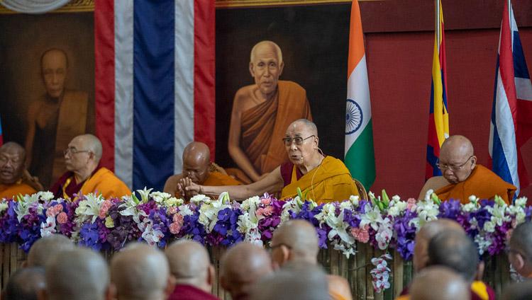 His Holiness the Dalai Lama delivering his inaugural address at the opening session of the International Seminar on the Tipitaka / Tripitaka at Watpa Buddhagaya in Bodhgaya, Bihar, India on December 22, 2018. Photo by Lobsang Tsering