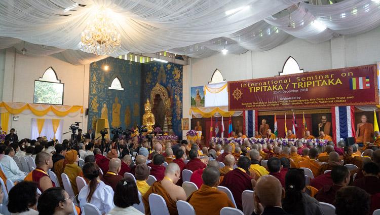 A view of the hall at Watpa Buddhagaya during His Holiness the Dalai Lama's inaugural address at the International Seminar on the Tipitaka / Tripitaka in Bodhgaya, Bihar, India on December 22, 2018. Photo by Lobsang Tsering