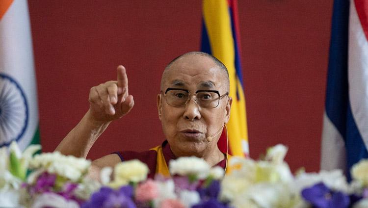 His Holiness the Dalai Lama speaking at the opening session of the International Seminar on the Tipitaka / Tripitaka at Watpa Buddhagaya in Bodhgaya, Bihar, India on December 22, 2018. Photo by Lobsang Tsering