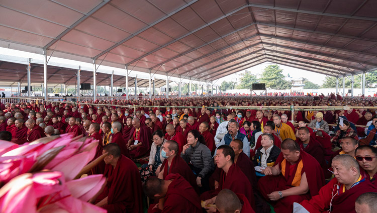 A view of the almost 15,000 people attending His Holiness the Dalai Lama's teaching at the Kalachakra Ground in Bodhgaya, Bihar, India on December 24, 2018. Photo by Lobsang Tsering
