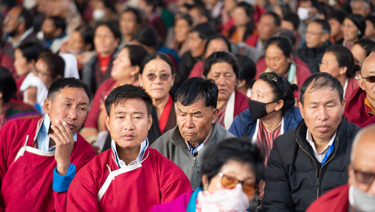 Some of the almost 15,000 people attending His Holiness the Dalai Lama's teaching at the Kalachakra Ground in Bodhgaya, Bihar, India on December 24, 2018. Photo by Lobsang Tsering