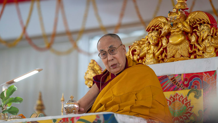 His Holiness the Dalai Lama addressing the crowd attending the Solitary Hero Vajrabhairava Empowerment in Bodhgaya, Bihar, India on December 26, 2018. Photo by Lobsang Tsering