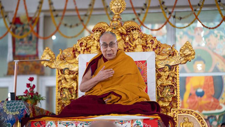 His Holiness the Dalai Lama addressing the crowd of more than 16,000 at the Kalachakra Ground in Bodhgaya, Bihar, India on December 30, 2018. Photo by Lobsang Tsering