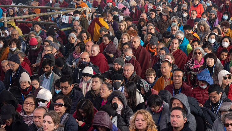 Some of the more than 16,000 people attending the Long-life Empowerment given by His Holiness the Dalai Lama at the Kalachakra Ground in Bodhgaya, Bihar, India on December 30, 2018. Photo by Lobsang Tsering