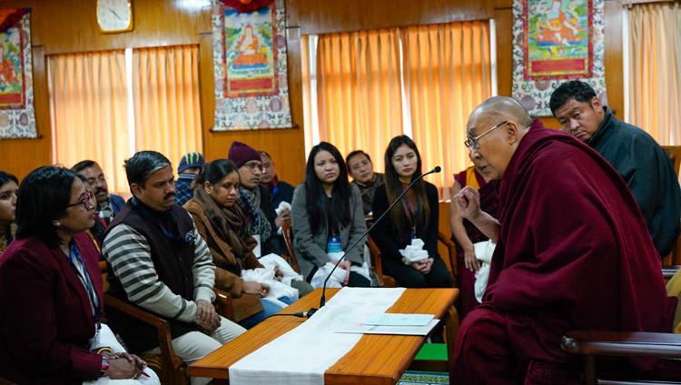 His Holiness the Dalai Lama speaking to a group of Indian scholars at his residence in Dharamsala, HP, India on January 24, 2019. Photo by Ven Tenzin Jamphel
