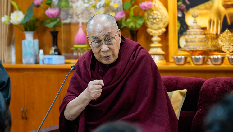 His Holiness the Dalai Lama addressing a group of Indian scholars at his residence in Dharamsala, HP, India on January 24, 2019. Photo by Ven Tenzin Jamphel