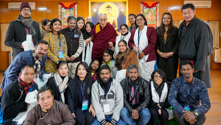 His Holiness the Dalai Lama with a group of young Indian scholars, participants in a  Conference on Tibetan Studies, after their meeting at his residence in Dharamsala, HP, India on January 24, 2019. Photo by Ven Tenzin Jamphel