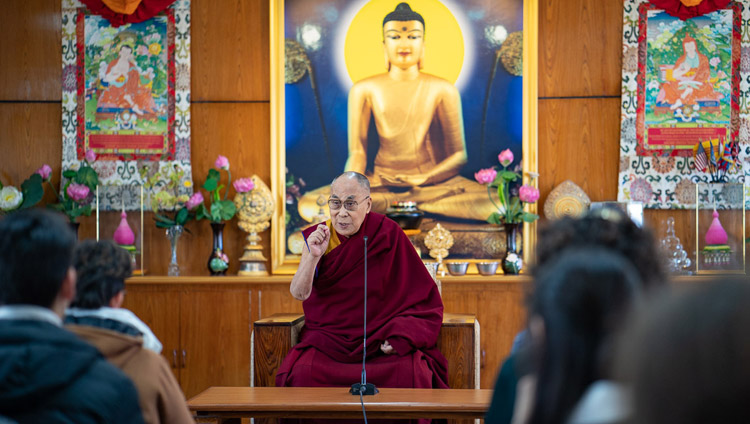 His Holiness the Dalai Lama addressing students and staff members of Kivunim, a gap year program for North American High School graduates based in Jerusalem at his residence in Dharamsala, HP, India on January 28, 2019. Photo by Tenzin Choejor