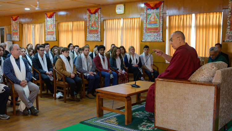 His Holiness the Dalai Lama speaking to a group of gap year students based in Israel during their meeting at his residence in Dharamsala, HP, India on January 28, 2019. Photo by Tenzin Choejor