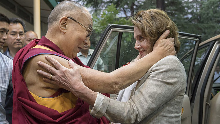 His Holiness the Dalai Lama greeting his friend then House Democratic Leader Nancy Pelosi as she arrives at his residence leading a bipartisan US Congressional Delegation on a visit to the Tibetan community in Dharamsala HP, India on May 9, 2017. Photo by Tenzin Choejor