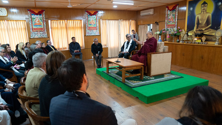 His Holiness the Dalai Lama speaking to a group led by Deepak Chopra at his residence in Dharamsala, HP, India on February 11, 2019. Photo by Tenzin Choejor