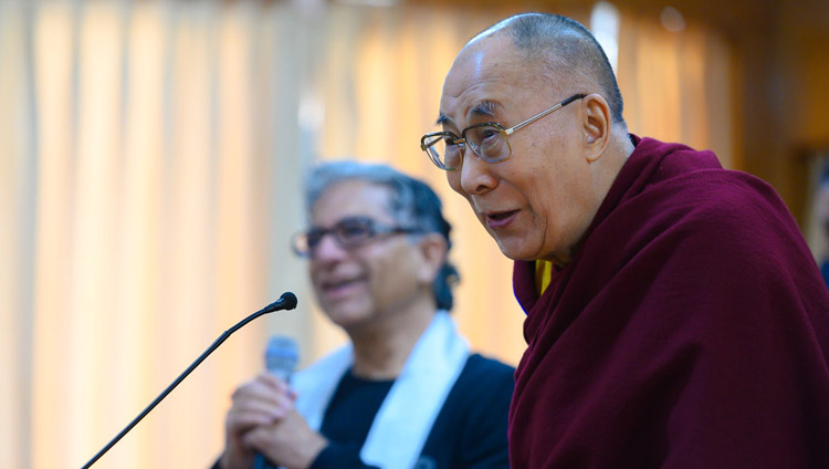 His Holiness the Dalai Lama answering a question from the audience during his meeting with Deepak Chopra and a group of his friends in Dharamsala, HP, India on February 11, 2019. Photo by Tenzin Choejor