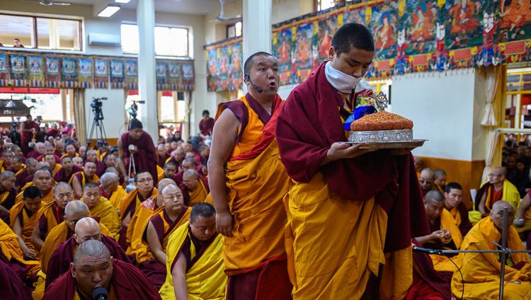 The Chant Master leading prayers at the start of His Holiness the Dalai Lama's teachings at the Main Tibetan Temple in Dharamsala, HP, India on February 19, 2019. Photo by Tenzin Choejor
