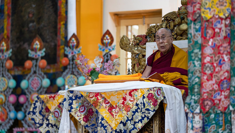 His Holiness the Dalai Lama explaining a point in the text during his teaching at the Main Tibetan Temple in Dharamsala, HP, India on February 19, 2019. Photo by Tenzin Choejor