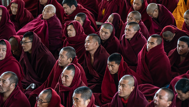 Some of the several thousand monastics attending His Holiness the Dalai Lama's teaching at the Main Tibetan Temple in Dharamsala, HP, India on February 19, 2019. Photo by Tenzin Choejor