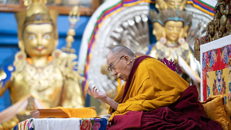 "His Holiness the Dalai Lama reading from Bhavaviveka's ""Essence of the Middle Way"" on the first day of his teachings at the Main Tibetan Temple in Dharamsala, HP, India on February 20, 2019. Photo by Tenzin Choejor"