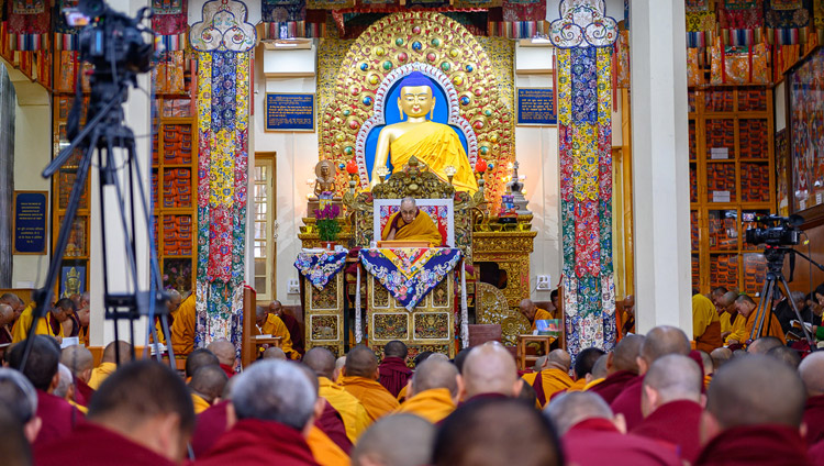 A view inside the Main Tibetan Temple on the first day of His Holiness the Dalai Lama's teachings in Dharamsala, HP, India on February 20, 2019. Photo by Tenzin Choejor