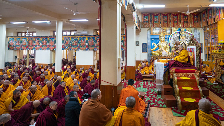 "His Holiness the Dalai Lama addressing the audience on the final day of his teachings on Bhavaviveka's ""Essence of the Middle Way"" at the Main Tibetan Temple in Dharamsala, HP, India on February 22, 2019. Photo by Tenzin Choejor"