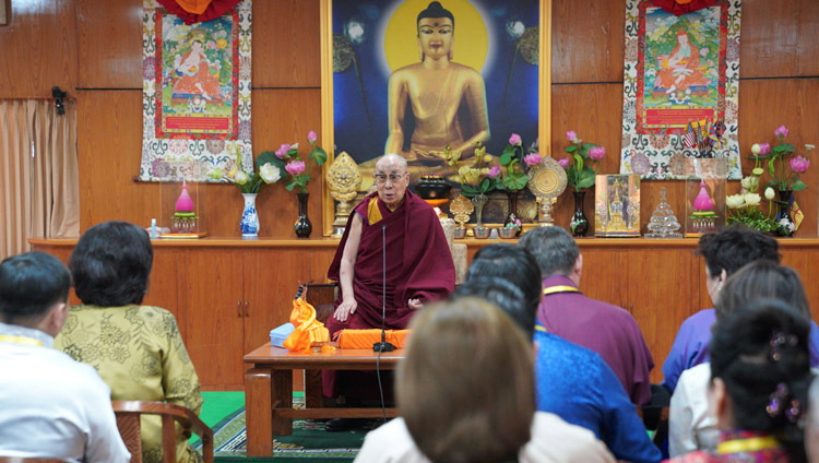 His Holiness the Dalai Lama speaking to a group of young professionals from Mongolia at his residence in Dharamsala, HP, India on March 25, 2019. Photo by Tenzin Choejor