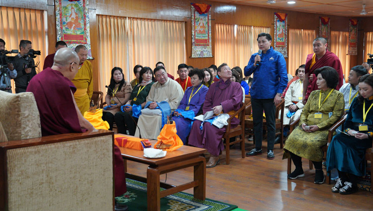 A member of the audience asking His Holiness the Dalai Lama a question during the meeting with young professionals from Mongolia at his residence in Dharamsala, HP, India on March 25, 2019. Photo by Tenzin Choejor