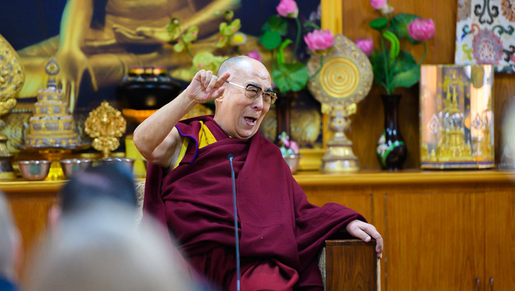 His Holiness the Dalai Lama recalling a humorous story during his conversation with members of Club 1880 from Singapore at his residence in Dharamsala, HP, India on March 27, 2019. Photo by Tenzin Choejor