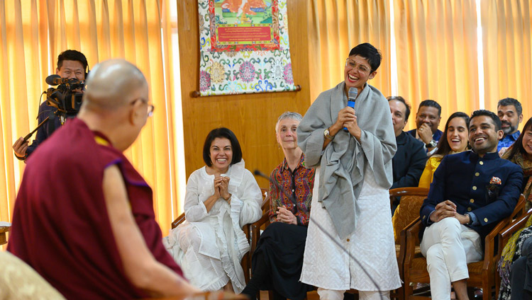 A member of the audience asking His Holiness the Dalai Lama a question during his conversation with members of Club 1880 from Singapore at his residence in Dharamsala, HP, India on March 27, 2019. Photo by Tenzin Choejor