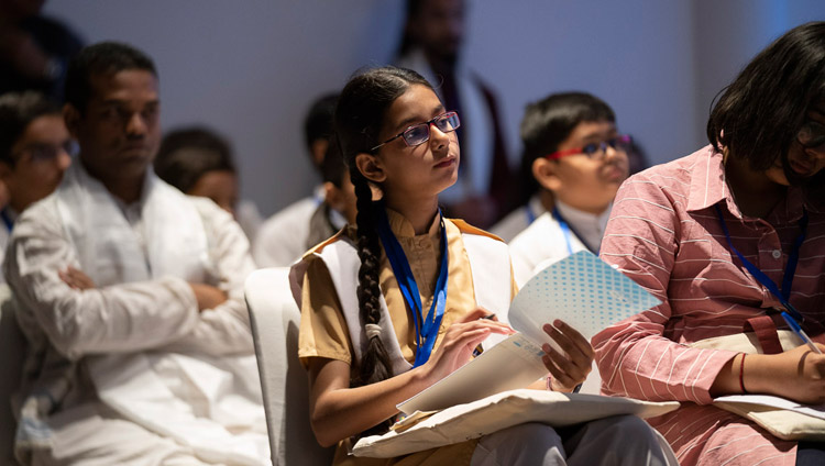 Students from South Asian countries listening to His Holiness the Dalai Lama during their meeting in New Delhi, India on April 4, 2019. Photo by Tenzin Choejor