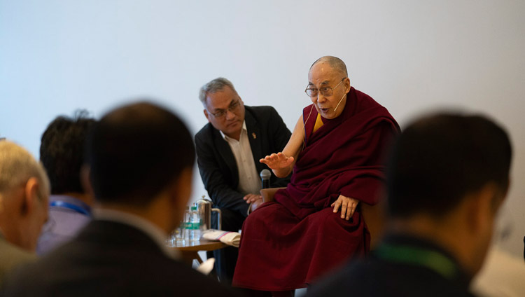 His Holiness the Dalai Lama speaking to a group of students and teachers from South Asian countries who have been taking part in workshops about universal values and secular ethics during their meeting in New Delhi, India on April 4, 2019. Photo by Tenzin Choejor