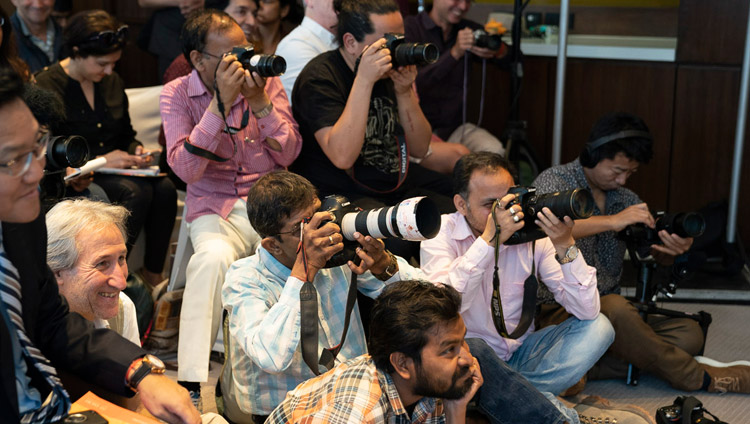 Members of the media listening attending the press conference for the global launch of SEE Learning with His Holiness the Dalai Lama in New Delhi, India on April 4, 2019. Photo by Tenzin Choejor