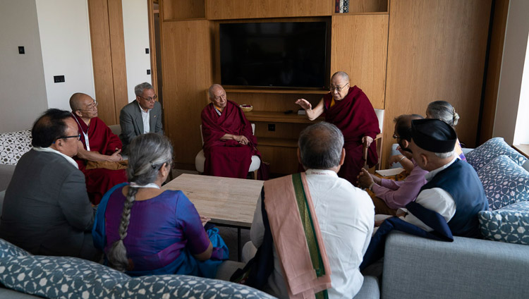 His Holiness the Dalai Lama meeting with a group of Indian professors who are preparing a course of study focussing on Ancient Indian Knowledge in New Delhi, India on April 5, 2019. Photo by Tenzin Choejor