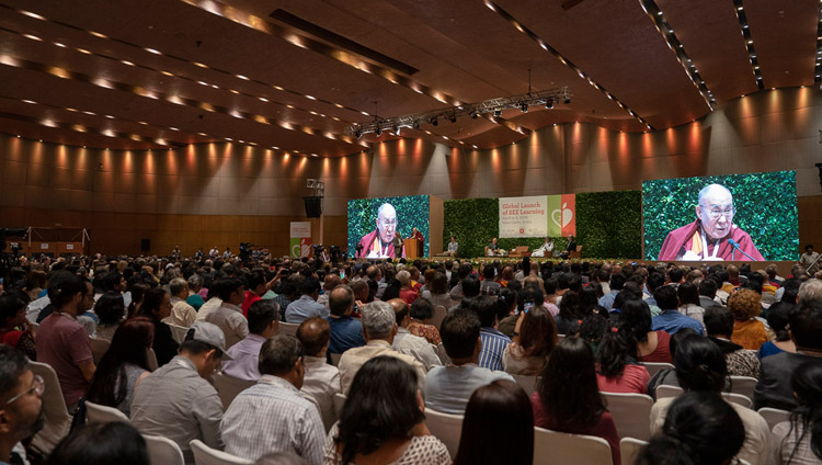View of the stage from the back of the hall during His Holiness the Dalai Lama's opening address at the global launch of SEE Learning in New Delhi, India on April 5, 2019. Photo by Tenzin Choejor
