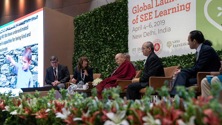 Kimberly Schonert-Reichl delivering her presentation during the panel discussion at the global launch of SEE Learning in New Delhi, India on April 5, 2019. Photo by Tenzin Choejor
