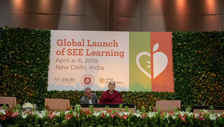 His Holiness the Dalai Lama delivering the keynote address on the second day of the SEE Learning global launch in New Delhi, India on April 6, 2019. Photo by Tenzin Choejor