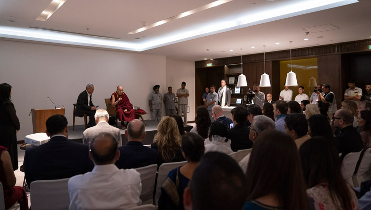 His Holiness the Dalai Lama addressing members of Youth Global Leaders in New Delhi, India on April 7, 2019. Photo by Tenzin Choejor