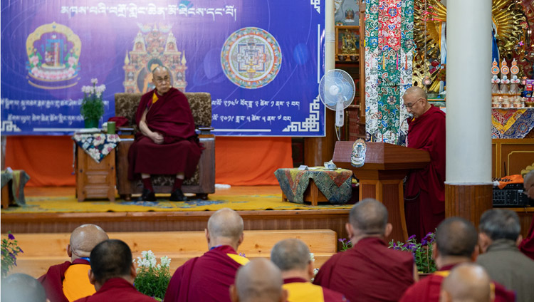 The Abbot of Namgyal Monastery, Thomtog Rinpoché, speaking at the opening of the First Conference on Kalachakra at the Kalachakra Temple in Dharamsala, HP, India on May 5, 2019. Photo by Tenzin Choejor