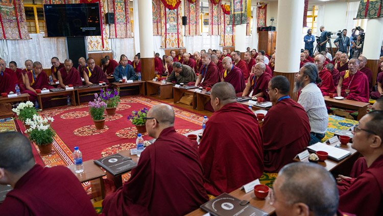 Delegates to the First Conference on Kalachakra listening to His Holiness the Dalai Lama at the Kalachakra Temple in Dharamsala, HP, India on May 5, 2019. Photo by Tenzin Choejor