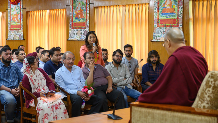 A member of the audience asking His Holiness the Dalai Lama a question during his interaction with business leaders and professionals from India, Vietnam and Russia at his residence in Dharamsala, HP, India on May 6, 2019. Photo by Tenzin Choejor