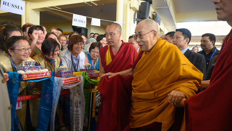 His Holiness the Dalai Lama arriving at the Main Tibetan Temple for the first day of his teachings requested by Russian Buddhists in Dharamsala, HP, India on May 10, 2019. Photo by Tenzin Choejor