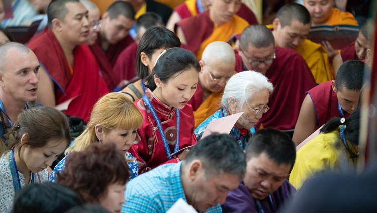 Some of 1100 Buddhists from Russia following the opening prayers on the first day of His Holiness the Dalai Lama's teaching at the Main Tibetan Temple in Dharamsala, HP, India on May 10, 2019. Photo by Tenzin Choejor