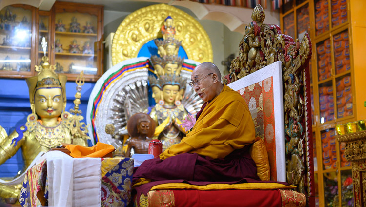 His Holiness the Dalai Lama addressing the audience on the first day of his teachings at the Main Tibetan Temple in Dharamsala, HP, India on May 10, 2019. Photo by Tenzin Choejor